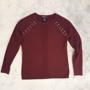 INC Fitted Burgundy Sweater w Gold Lacing Details